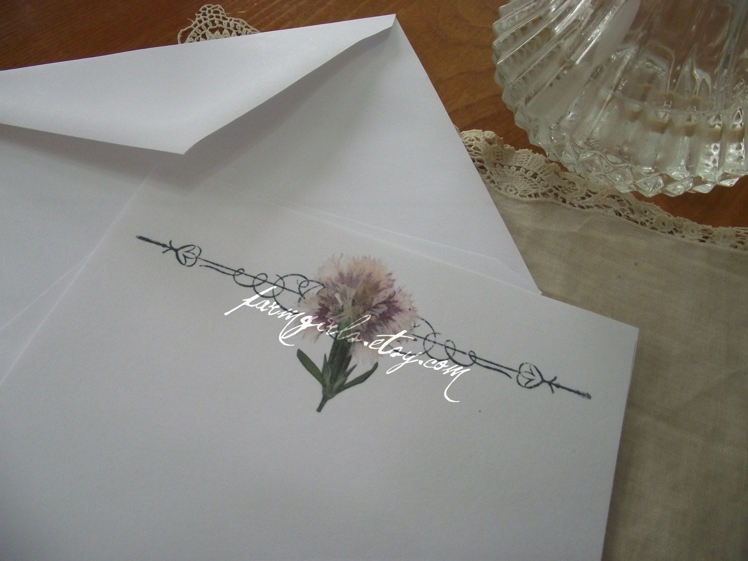 Japan Relief 100% Profit to Samaritan's Purse--Pink Pressed Flower Stationery FREE SHIPPING