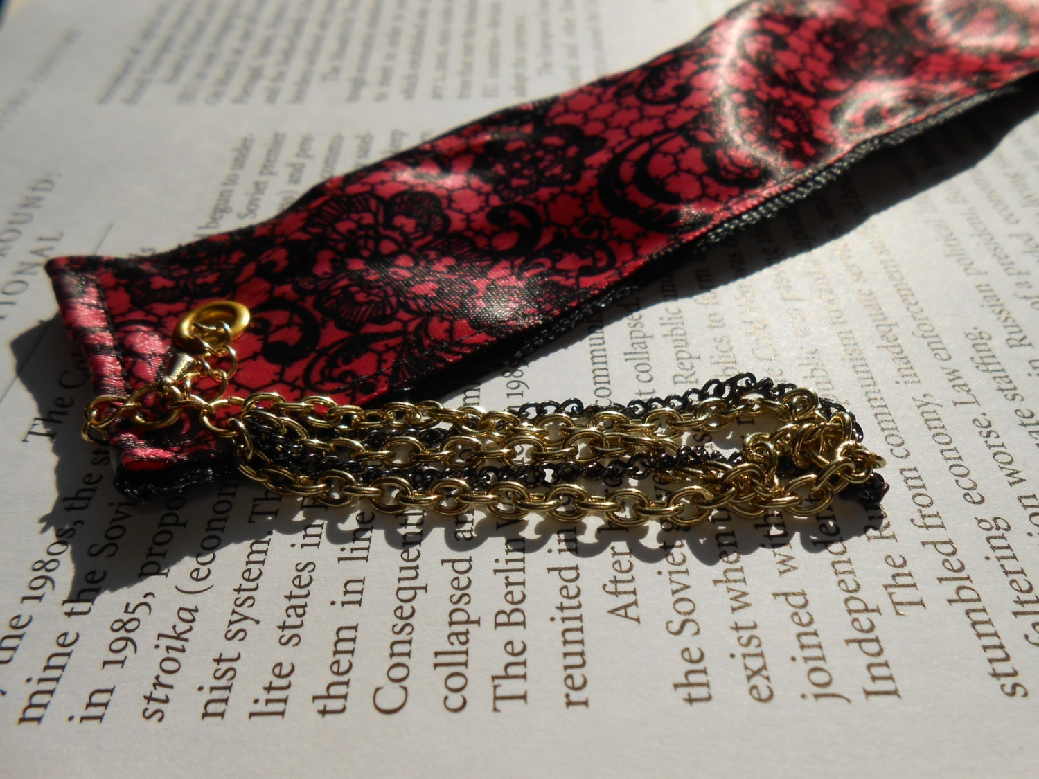 Lolita & Black Polka Dot Reversible Handmade Ribbon Bookmark