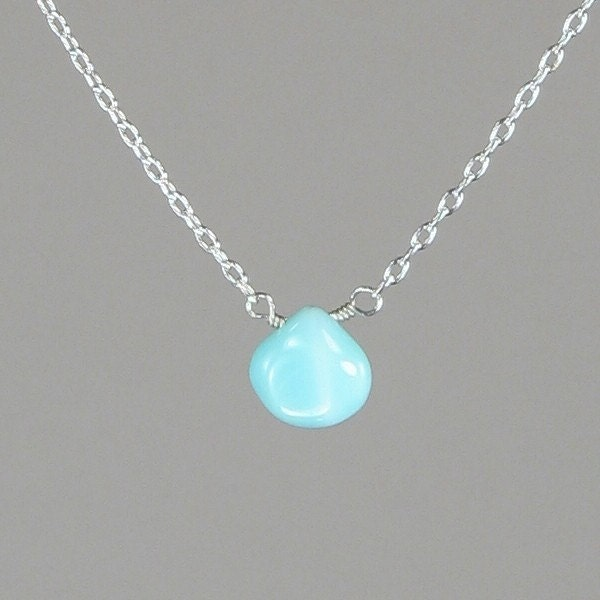 simple small peruvian blue opal necklace on delicate by