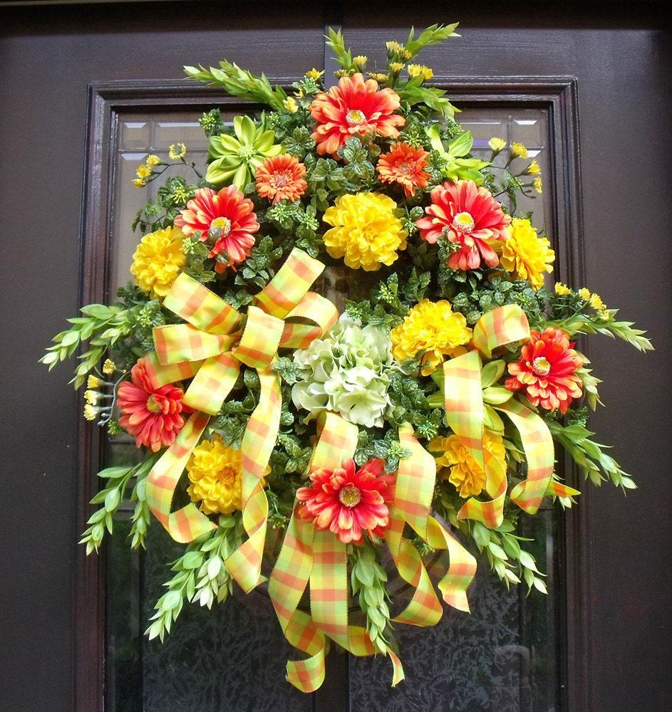 spring wreath door wreaths outdoor wreath front by luxewreaths. Black Bedroom Furniture Sets. Home Design Ideas