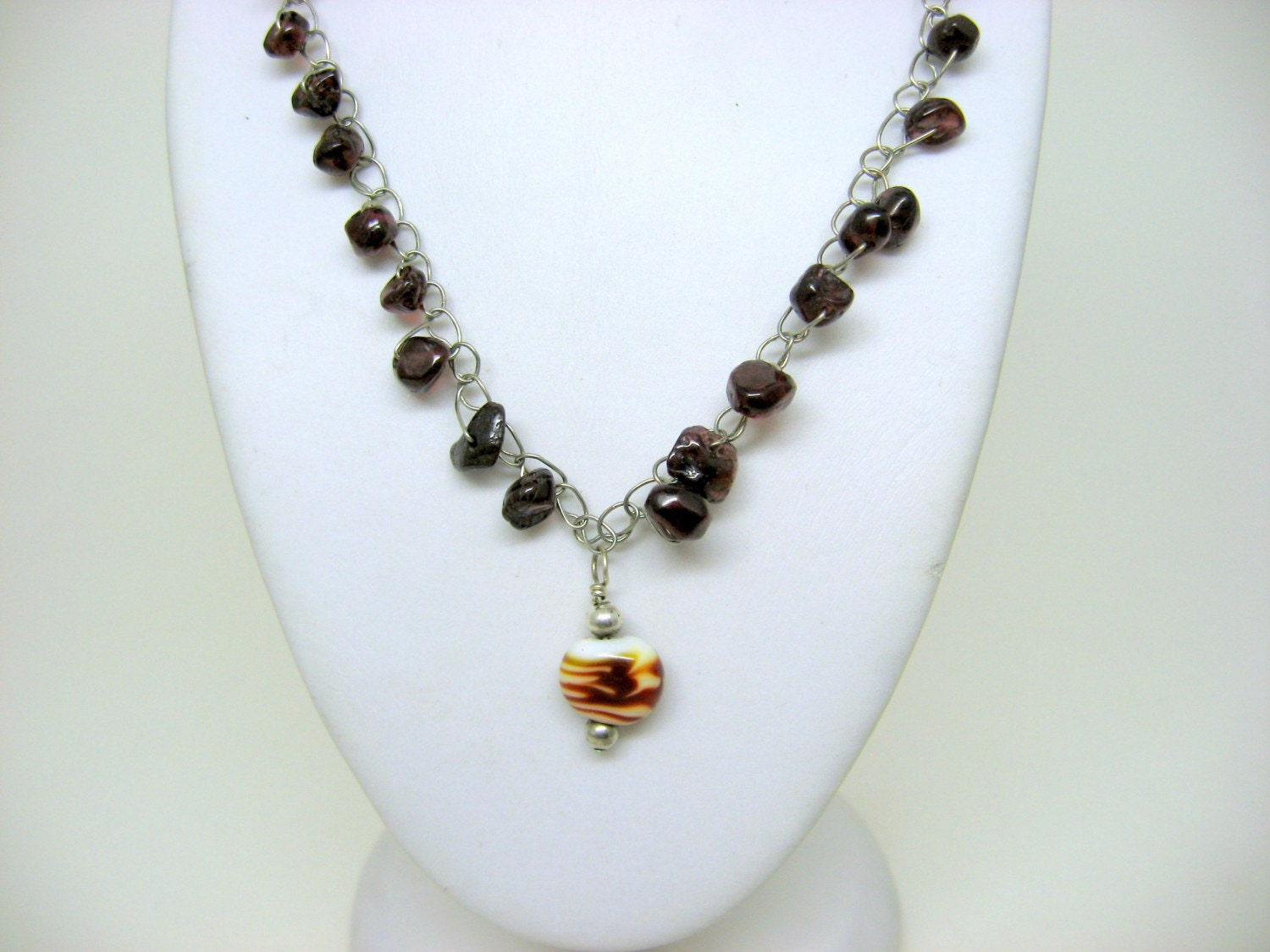 Garnet Anyway - crocheted wire necklace