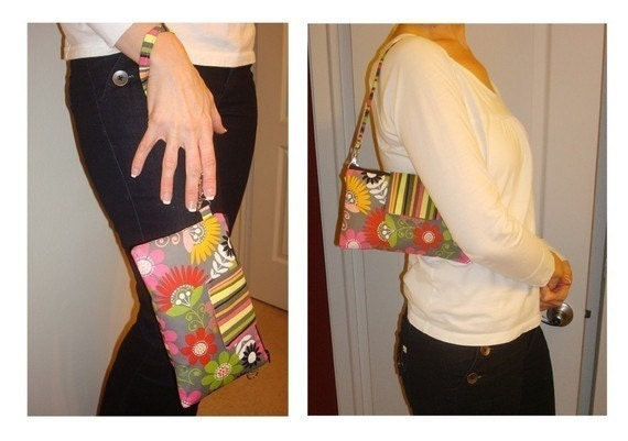 READY TO SHIP Convertible Wristlet Yellow and Green Floral