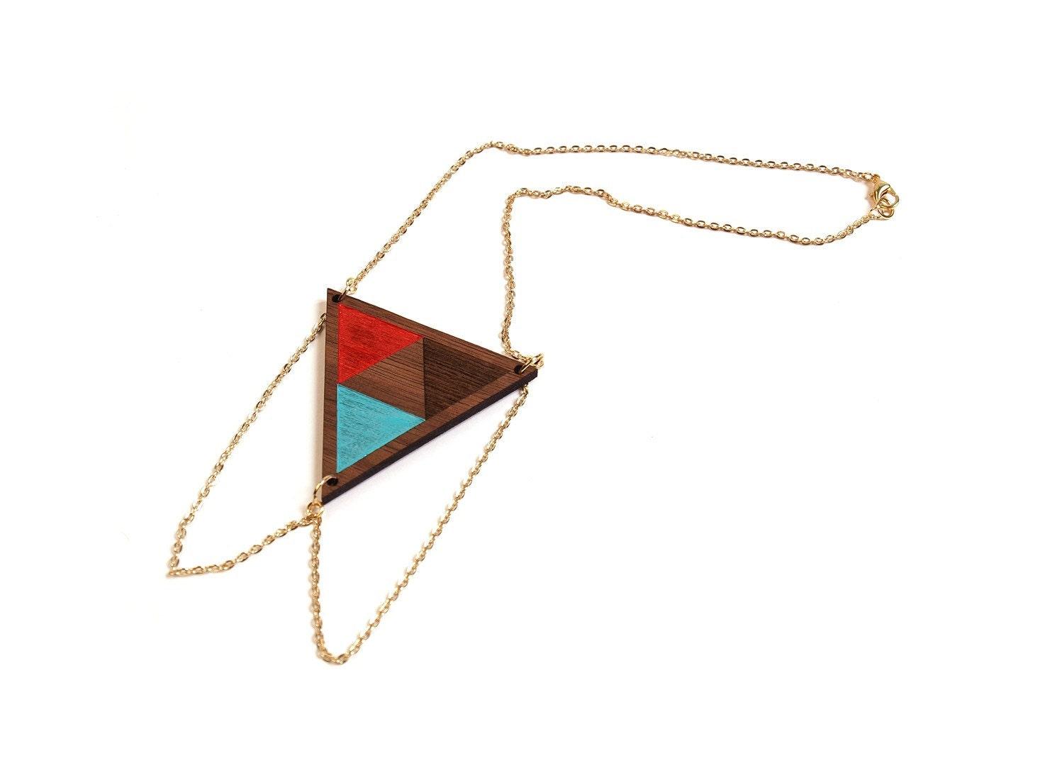 UTA - Laser cut, walnut, triangle necklace, color