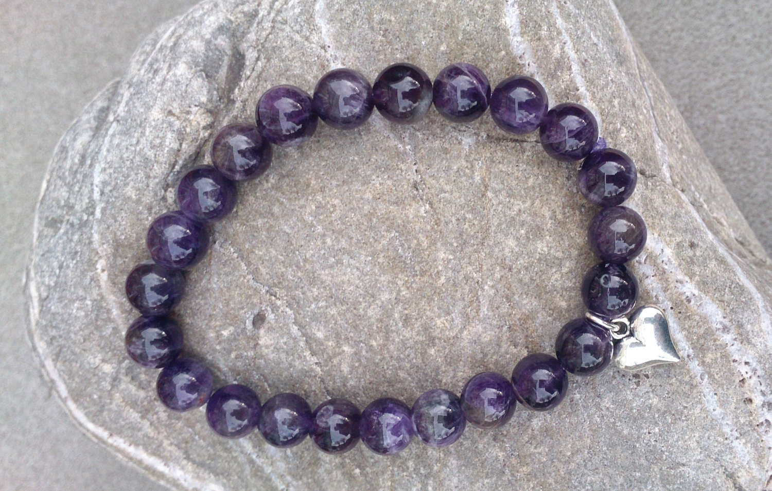 Amethyst Stretch Bracelet with Heart Charm  Handmade