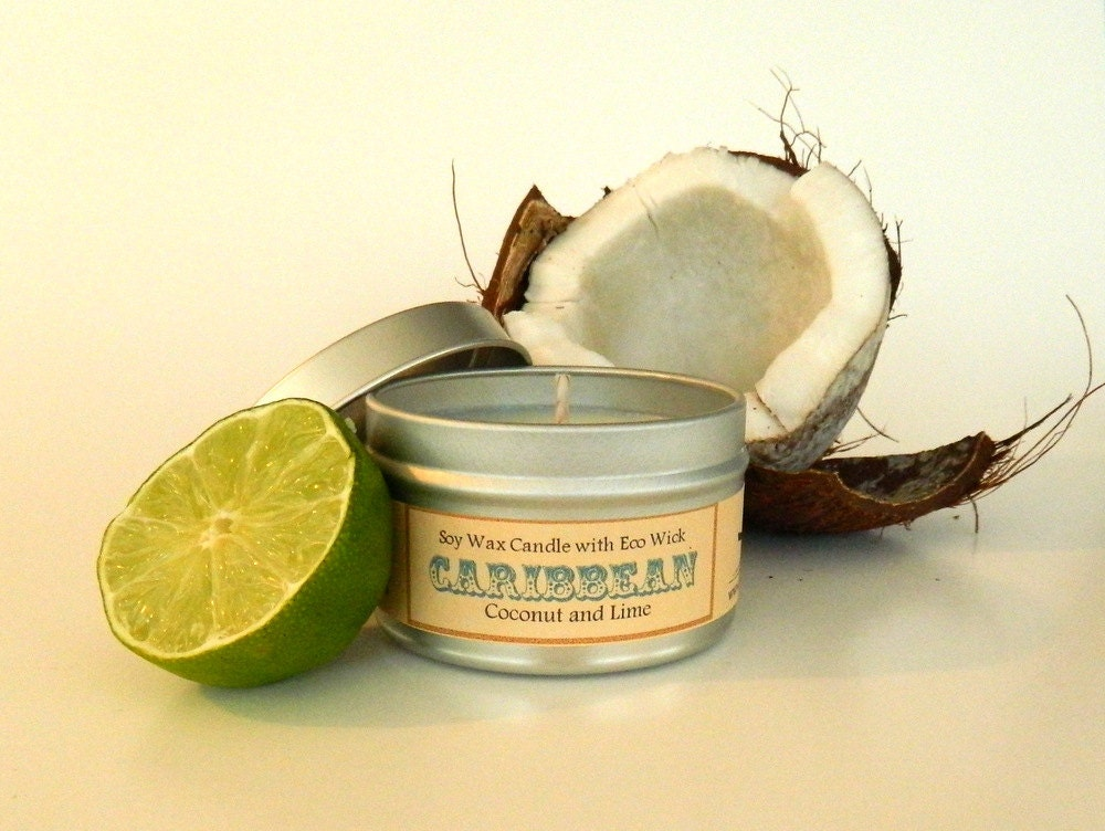 Coconut Lime Soy Candle / scented aromatherapy vegan candle soy tin candles 6oz - SoapForYourSoul