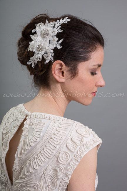 Light Ivory Lace Hair Clip, Bridal Hair Comb, Wedding Lace Headband, Birdcage Fascinator - LaSandra