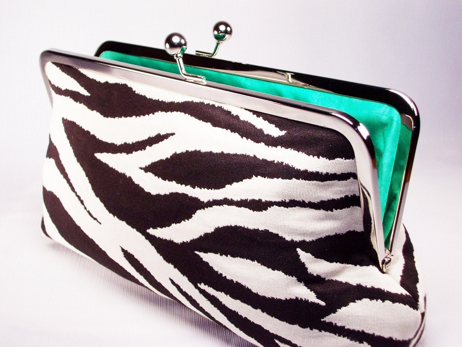 Zebra and Green Silk Clutch Purse