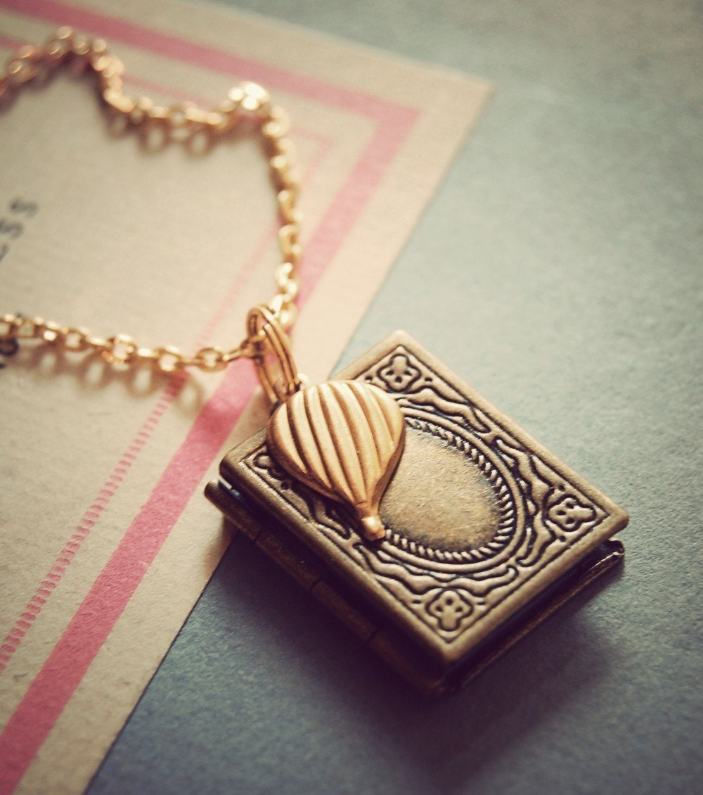 book of adventures. antique hot air balloon locket.