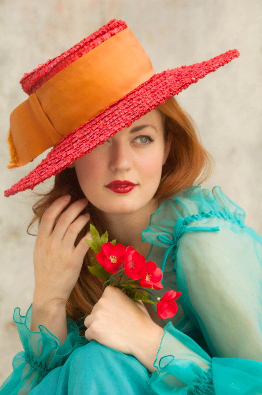 Vintage hat, red straw sunhat, orange grosgrain ribbon, The Emporium, California - RoseleinRarities