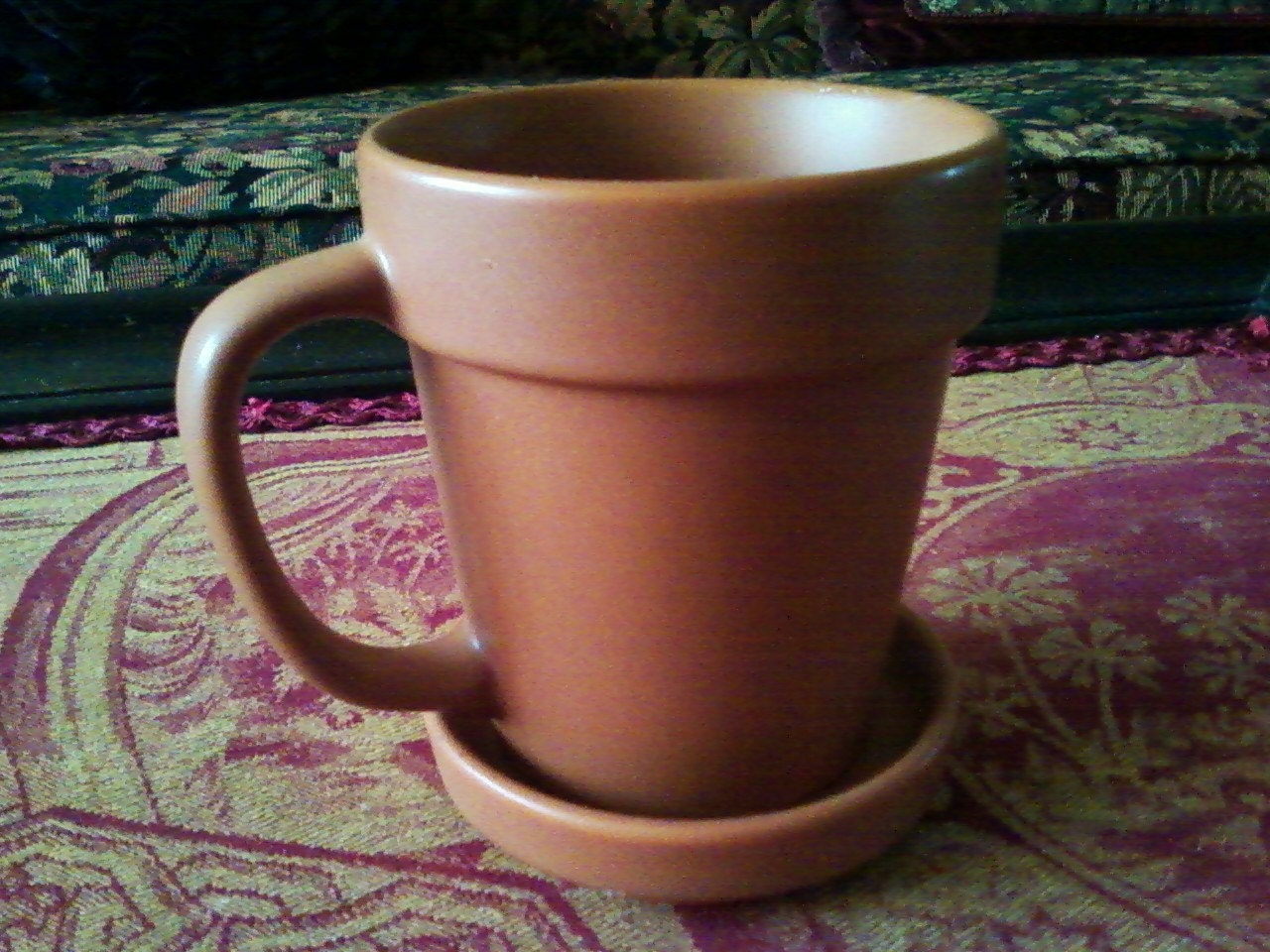Terra Cotta Coffee Mug With Saucer By Honeysdaughter On Etsy