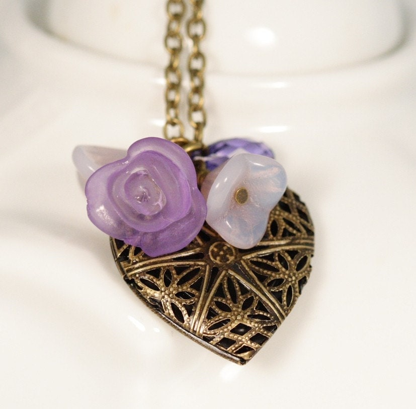 Love, Love Me Do Heart Locket Necklace - Mauve