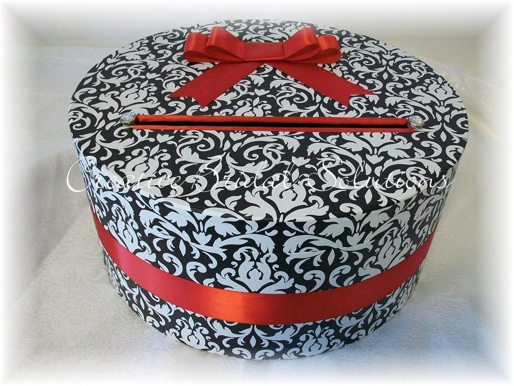 Black and White Damask with Red Round Wedding Card Box Holder