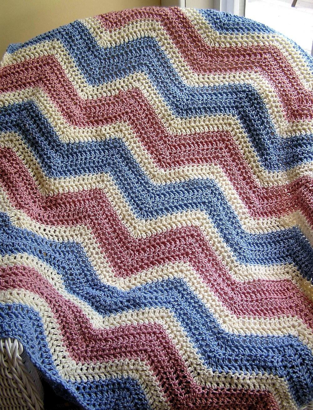 Knitting Pattern For Zig Zag Afghan : chevron zig zag baby blanket afghan wrap crochet knit ...