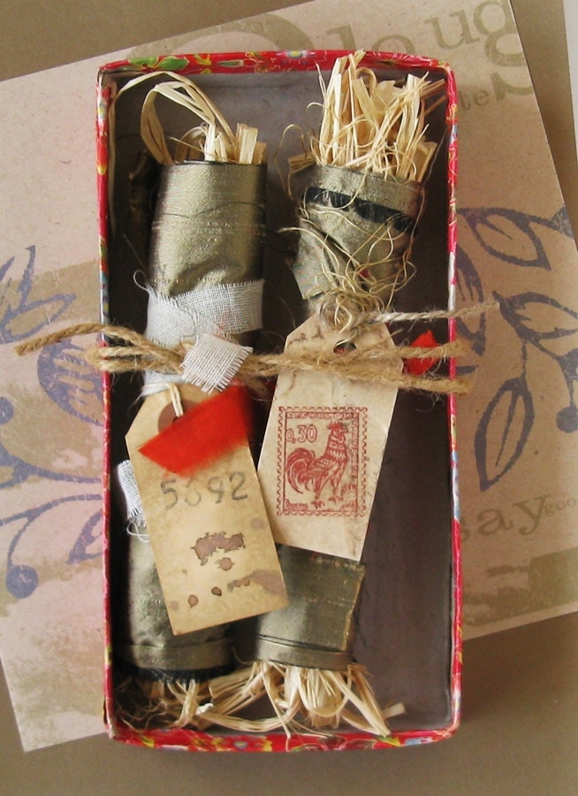 Crackers.... Assemblage in a vintage box, bundles, art, Yule, Christmas - ColetteCopeland