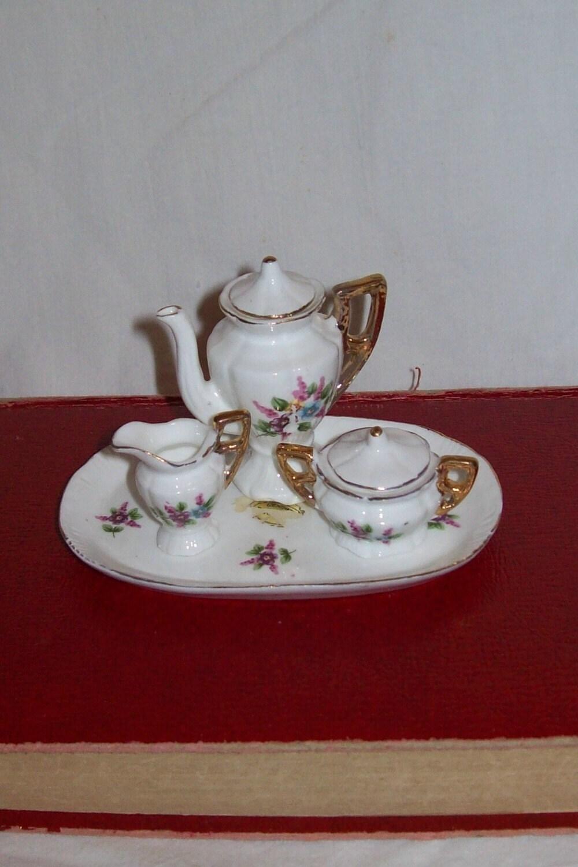 vintage tea set miniatures doll house shabby chic by misshettie