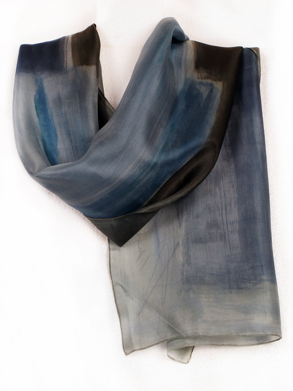Grey silk scarf Hand painted silk scarf.Abstract flowers on silk in blue grey mood.Painting on silk by Dimo - klaradar
