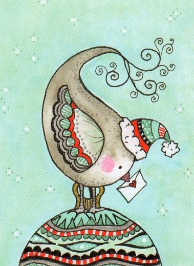 Christmas Greeting card: Folded card with envelope - little grey Christmas dove in turquoise and red.