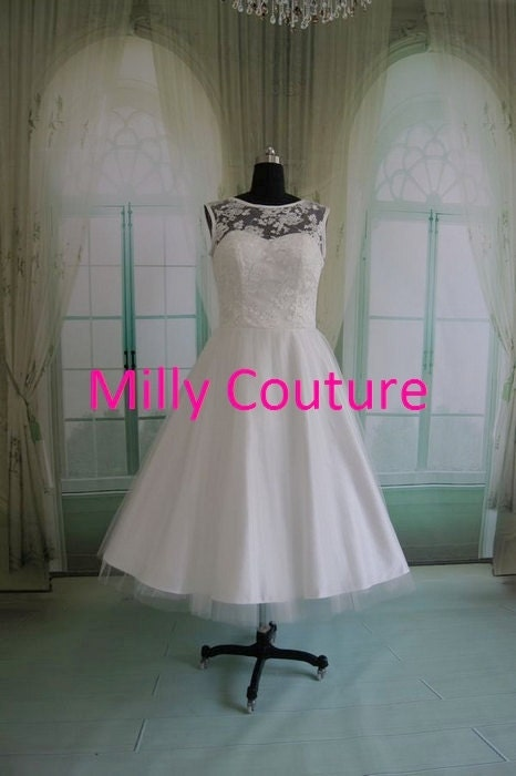 Marilyn tea length vintage 1950 wedding dress by millycouture for Etsy tea length wedding dress