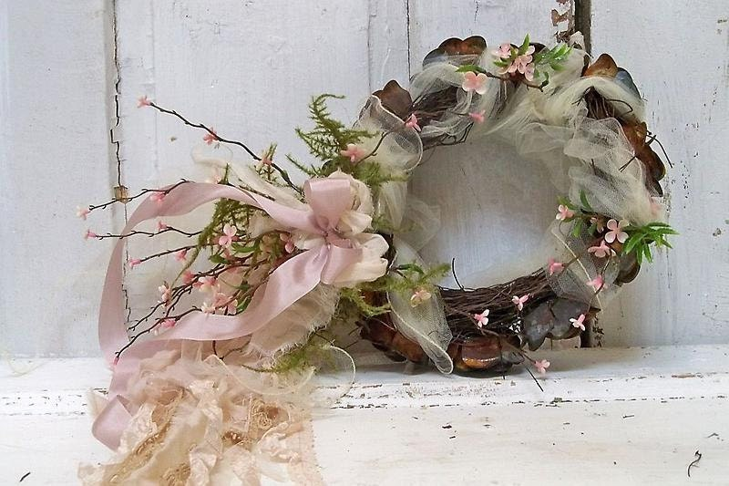 Hand made decorative halo ornate French Nordic inspired home decor roses, twigs, ribbon, flowers anita spero - AnitaSperoDesign