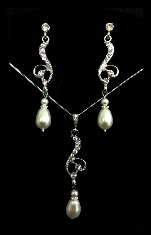 Bridal Necklace Earrings Jewerly Set Swarovski Pearl Sterling Silver - SWIRL SET