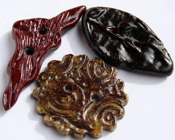 Handmade Ceramic Buttons Set of 3 Assorted