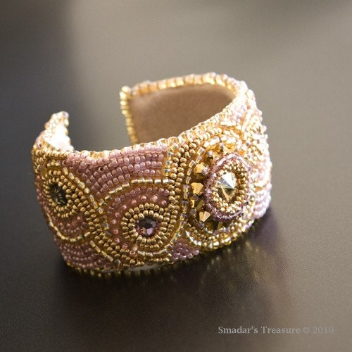Gold and Pink Bead Embroidered Cuff with Crystals - Free Shipping