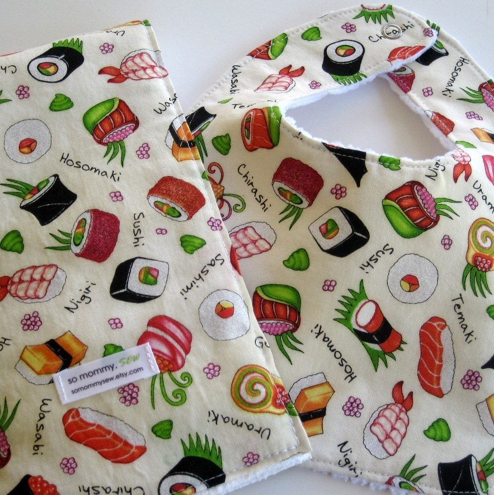 Bib and Burp Cloth Baby Gift Set in Sushi