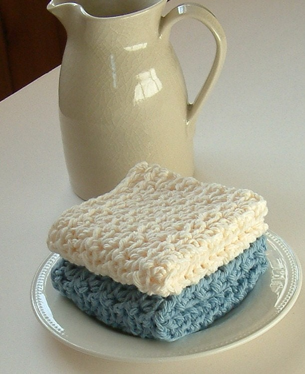 Dishcloths Crocheted in Soft Blue and Beige