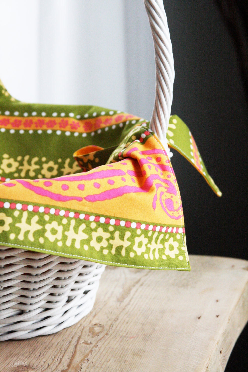 Basket Liner - Green and Yellow WIth Orange - Reversible