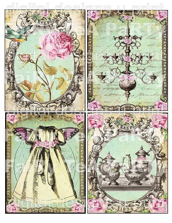 WHiMSiCaL FaiRy TeA PaRTy DIGITAL COLLAGE SHEET aged stained backgrounds antique roses frame postcards vintage altered art hang tags handmade greeting card making supplies hang tags books journals scrapbooking download kit