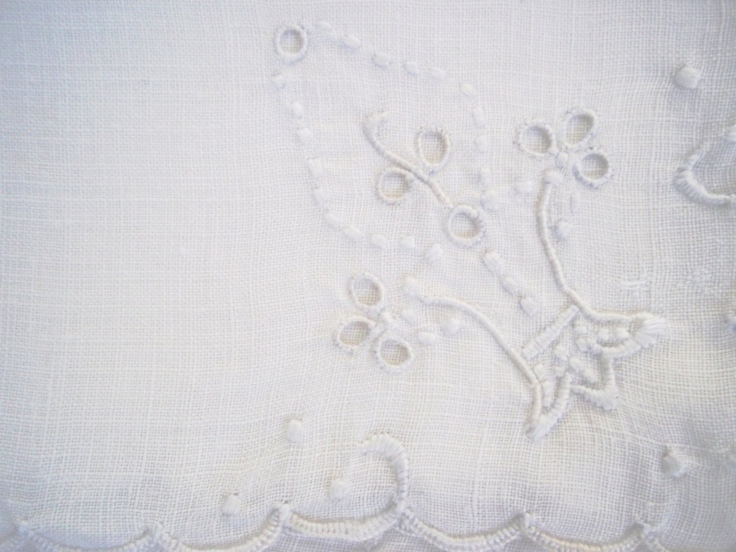 Vintage Set of Four White on White Madeira Embroidered Napkins - WillowCreekShoppe