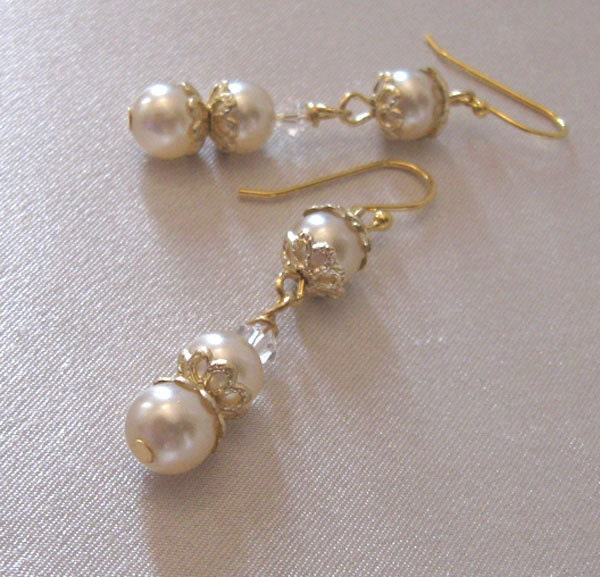 Pearl & Crystal Vintage Bead Earrings Long by sendinglovegallery from etsy.com