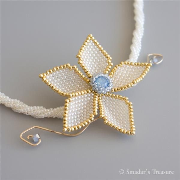 Cream Asymetrical Flower Necklace