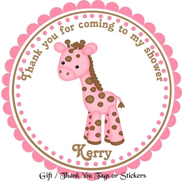 Baby Gift Labels : Baby giraffe personalized stickers party favor by