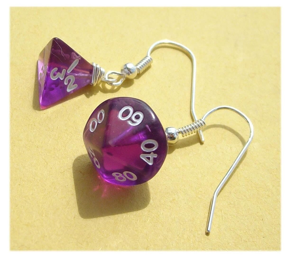handmade earrings die dice rpg d n d geekery purple