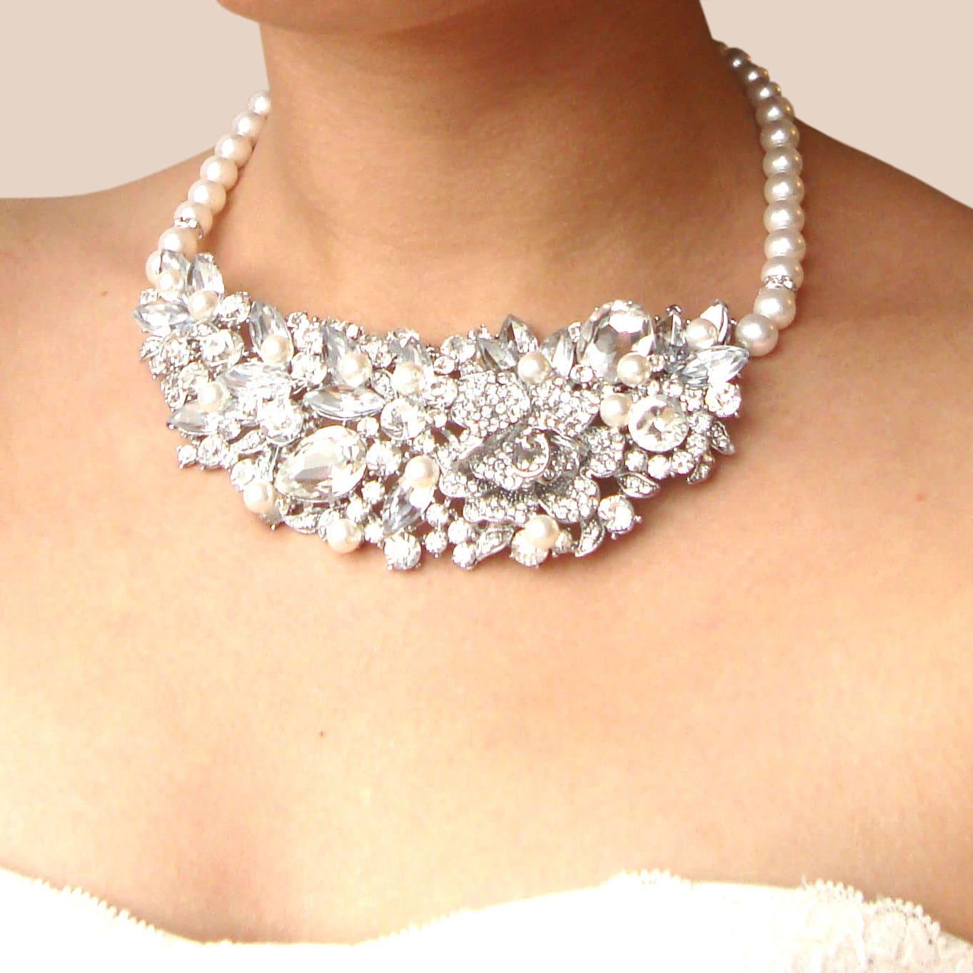 Pearl & Rhinestone Bridal Statement Necklace, Vintage Style Wedding Bridal Necklace, Bib Collar Necklace, Rhinestone Bridal Wedding Jewelry