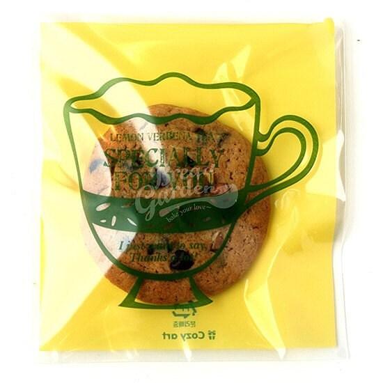 Tea Cup Printing Cello Poly Bag Envelope - lemon verbena tea (20 sheets)