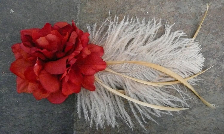 Simone: Bundle of Delphinium w/ a Della Fantasia feather. In Red w/ Cream or Cream w/Plum- Free Worldwide Shipping