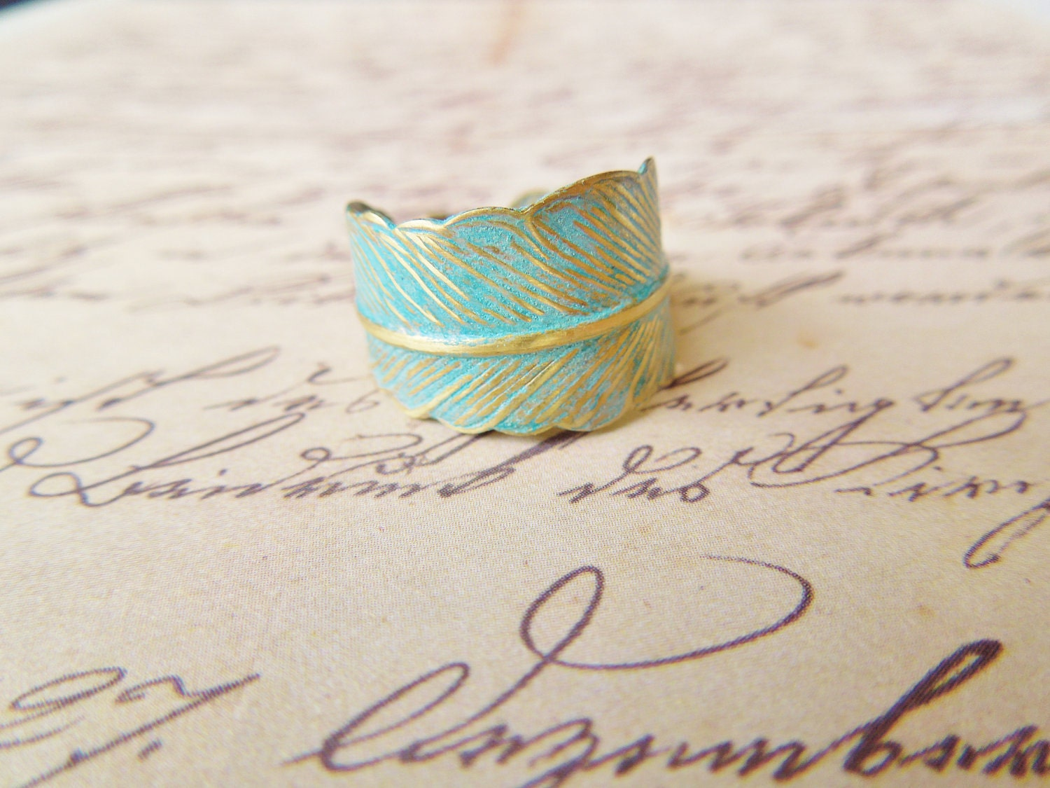 Verdigris Feather Ring - Hand Forged Brass Feather Ring - Shabby Chic, Adjustable