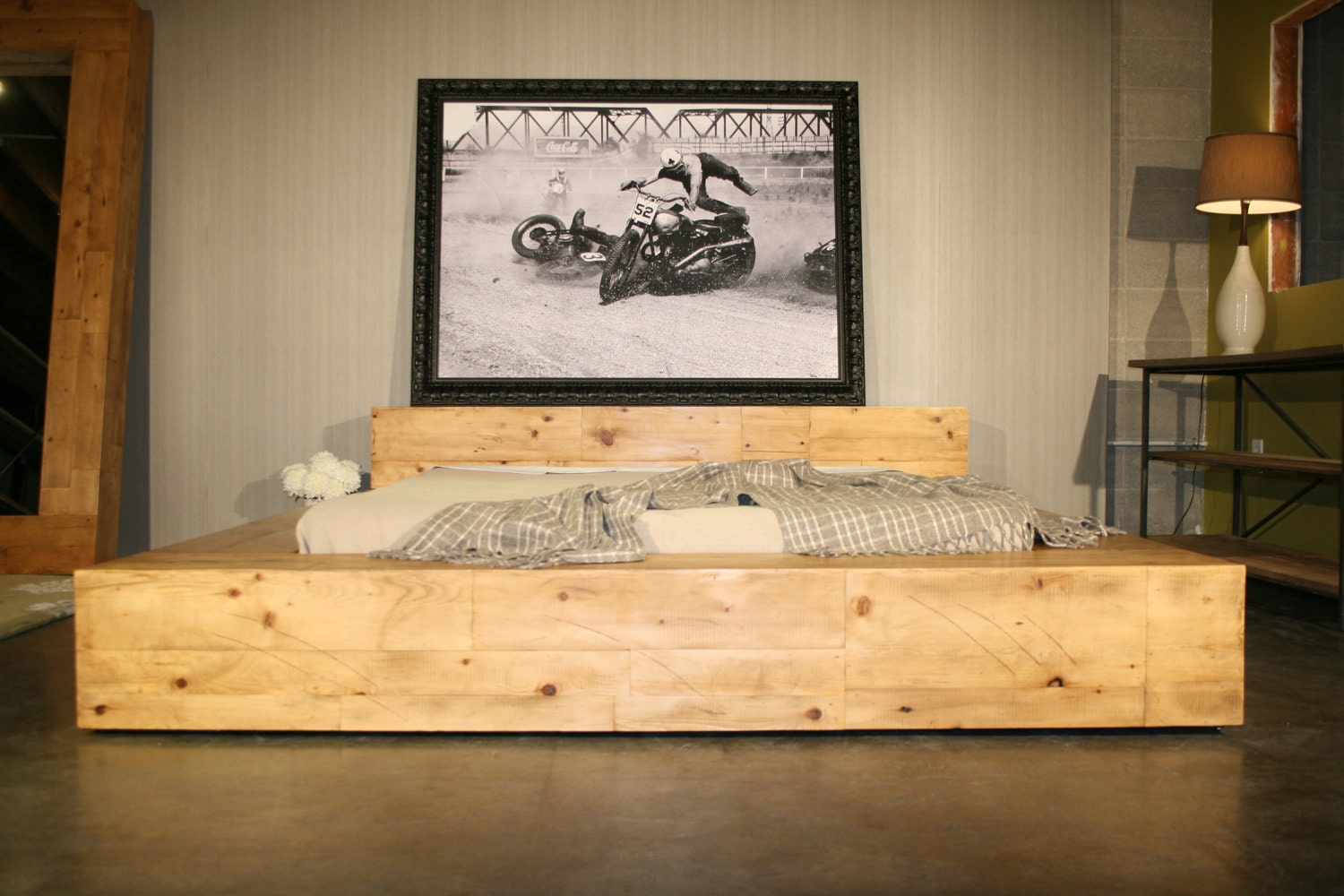 Reclaimed Wood Beam Bed - Handmade with reclaimed Pine from NYC - robrray