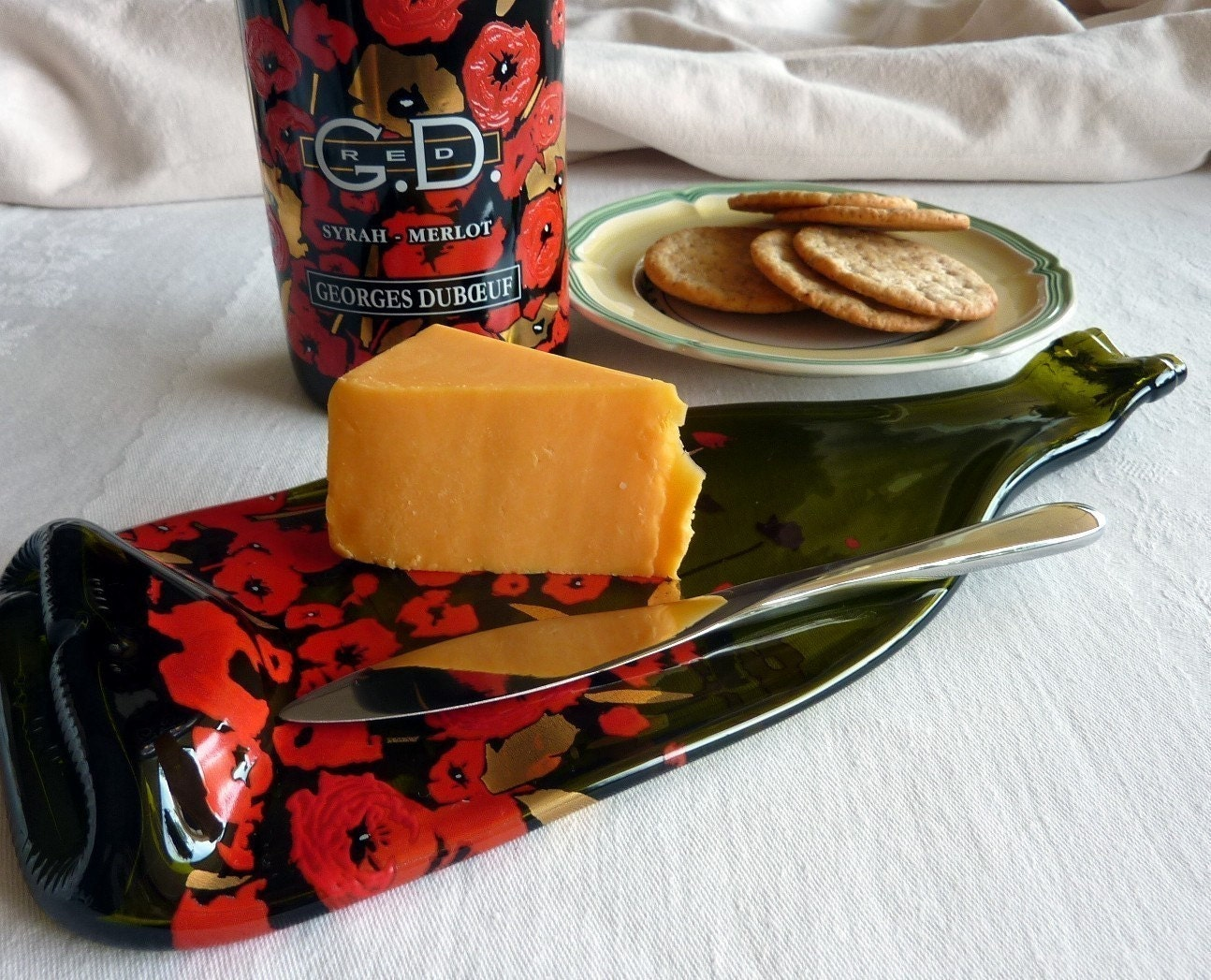 Slumped Wine Bottle Cheese Plate with Red Flowers