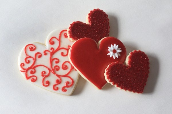 Hand Decorated Valentines Day Heart Swirl Cookies // 1 Dozen // Individually wrapped and and packaged for gifting