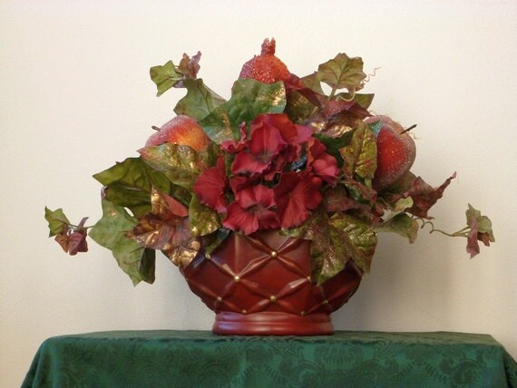 Christmas holiday centerpiece burgundy by enchantedforestbydee