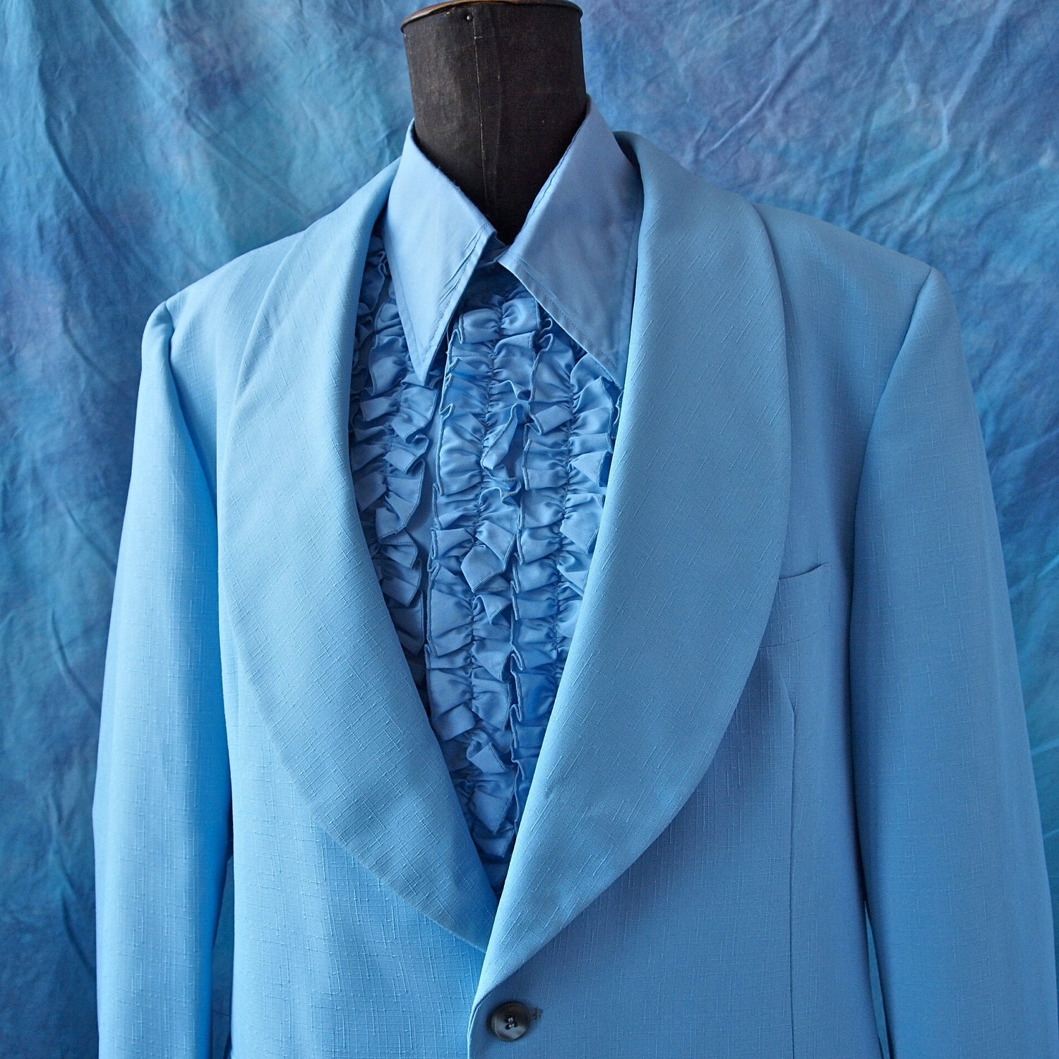 After six 70 39 s baby blue prom tuxedo wide lapels by for Powder blue tuxedo shirt