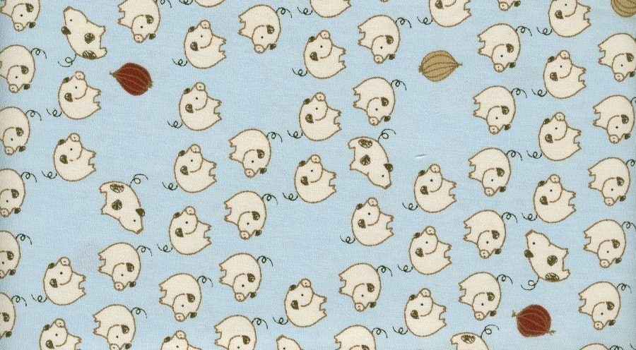 White Line Pigs on Blue - Japanese Cotton Fabric Fat Quarter