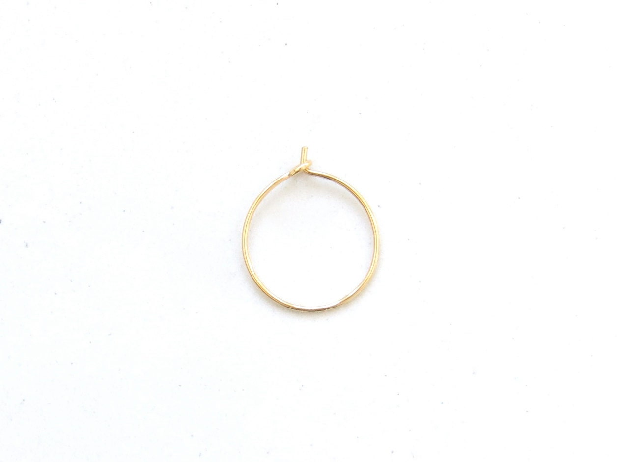 thin gold nose ring hoop tarnish resistant 14k gold by