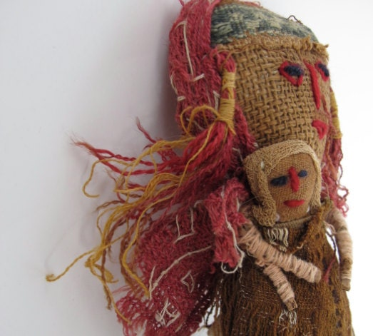 Antique Peruvian Textile Burial Doll Mother & By