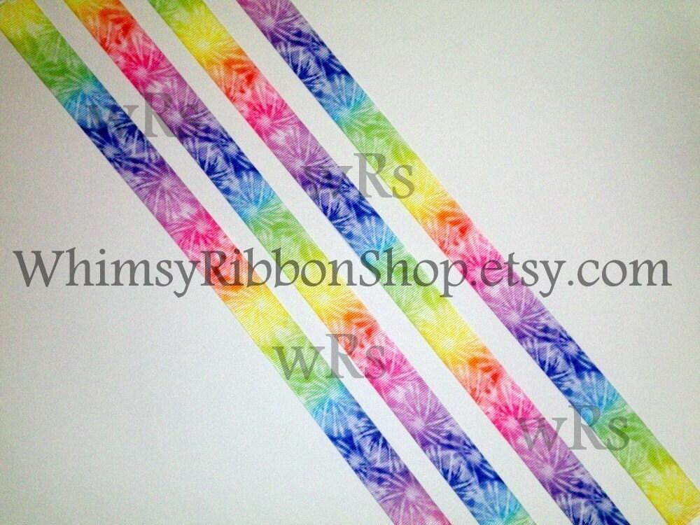 3 yards 3 8 tie dye grosgrain ribbon orange by