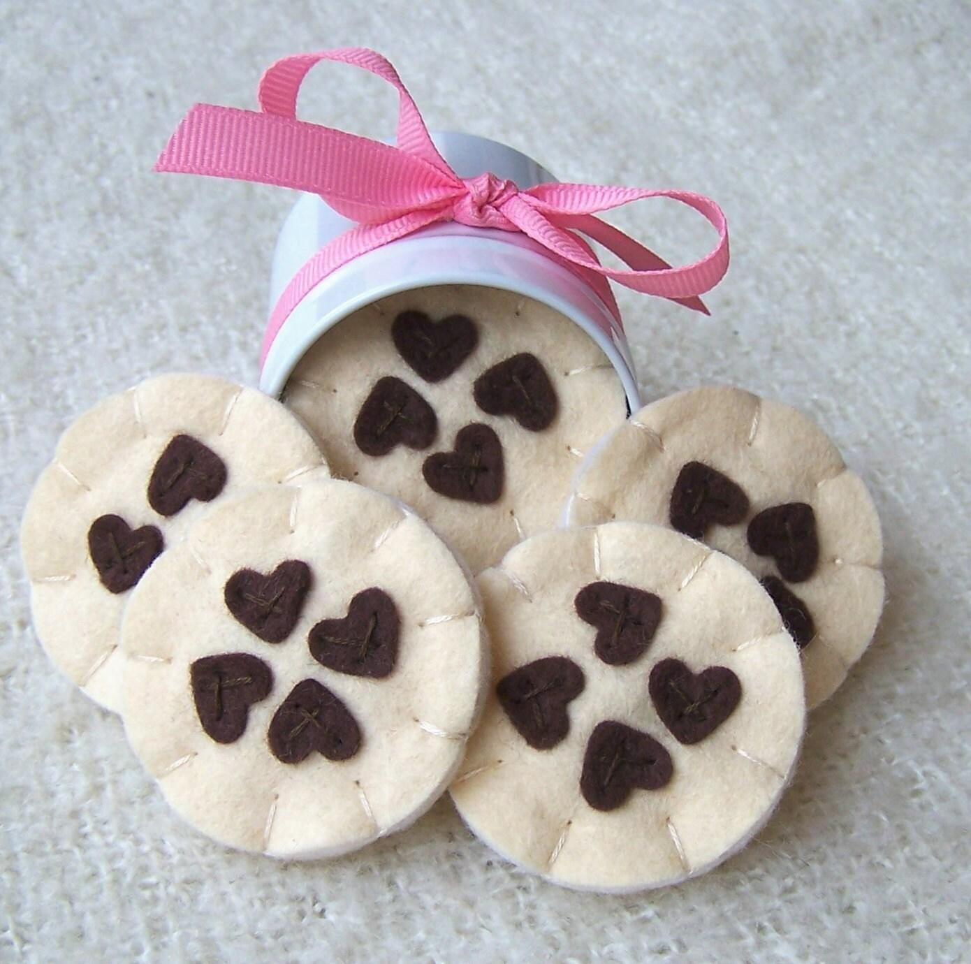 Wool Felt Play Food - Gourmet Chocolate Heart Chip Cookies
