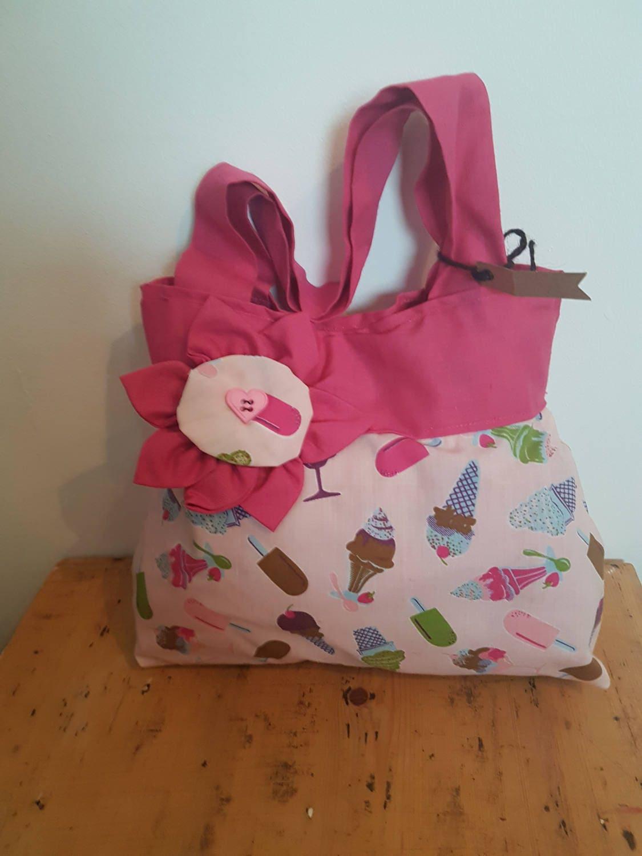 Little Girls Handbag A unique handmade textile handbag for little girls with a funky Icecream pattern ideal for weddings